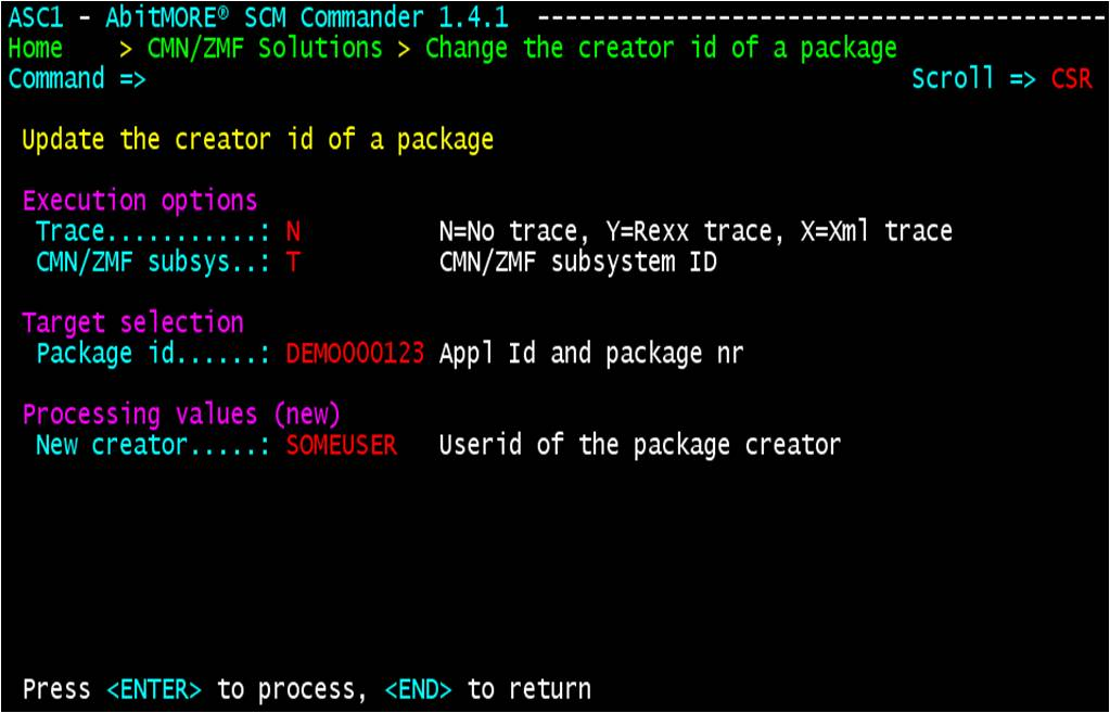 Change the creator Id of a package - variables