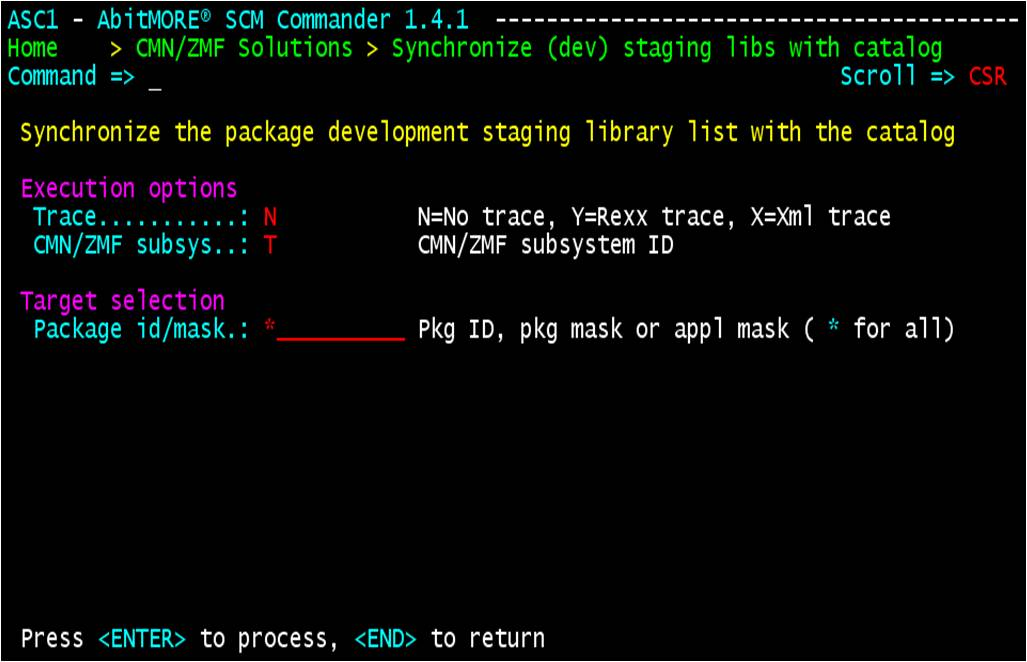 Synchronize development staging library list with the catalog - variables