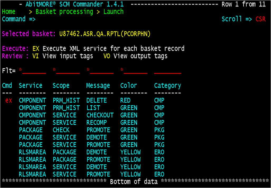 Launch a basket - Select a basket compliant XML