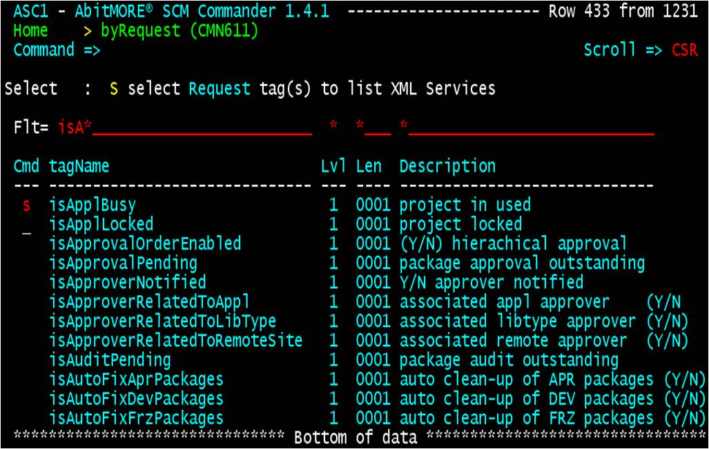 Search all XML services by request tags (for tag isApplBusy)